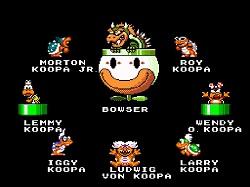 """A família """"nobre"""" dos koopas, no jogo Super Mario World"""