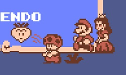 """""""Toad"""" (um cogumelo """"plebeu""""), Mario (o herói) e a Princesa Cogumelo"""