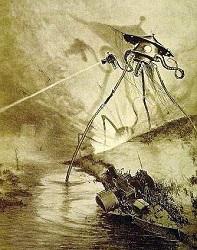 """Ilustração de Henrique Alves Corrêa para a edição francesa de 1906 de """"A Guerra dos Mundos"""""""
