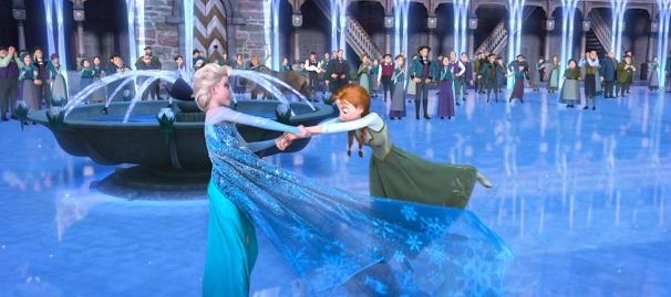 Elsa, nos segundos finais do filme: deslizando pelo gelo, alegre e decidida, em contraponto com a Elsa séria e sem coragem de sequer tocar as pessoas e Pesada, andando na neve. Ítalo Calvino iria pular da cadeira com essa cena.