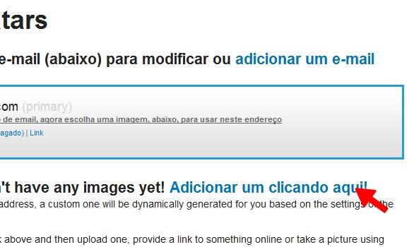 """Clique em """"Adicionar um clicando aqui!"""" para escolher seu avatar"""