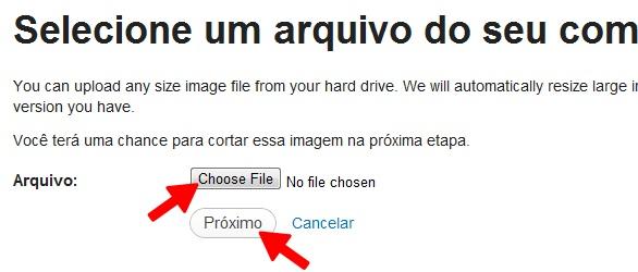 """Clique em """"Escolher o arquivo"""", selecione a imagem desejada e clique em """"Próximo"""""""