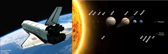 A pequenina nave espacial Discovery perdida na imensidão do espaço; análogo a um átomo, o Sistema Solar é, na maior parte, espaço vazio (a distância entre o Sol e os planetas está fora de escala - eles são bem mais espaçados -, mas os tamanhos estão)