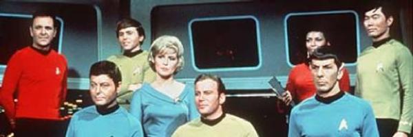 Scott, McCoy, Chekov, Chapel, Kirk, Uhura, Spock, Sulu