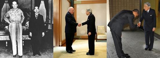 General MacArthur ao lado do imperador Hirohito, ex-vice-presidente Dick Cheney cumprimentando Akihito e o presidente Barack Obama saudando o mesmo. Mudança gradual...
