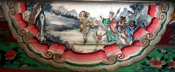 Pintura do Palácio do Verão em Beijing, mostrando cena da Jornada ao Oeste