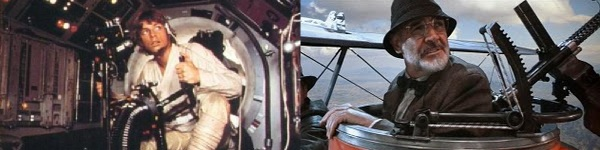 Luke Skywalker na Millenium Falcon e Henry Jones num aeroplano nazista