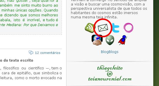 Clique no ícone do envelope postal, na barra lateral à direita