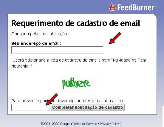 Preencha o formulário com seu endereço de e-mail e com o código de verificação
