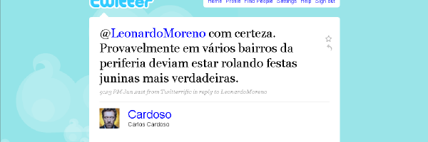 Resposta de Cardoso sobre São João na periferia de Mossosó