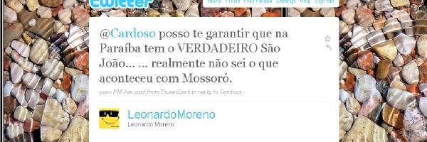 Resposta de Leonardo Moreira sobre São João em João Pessoa